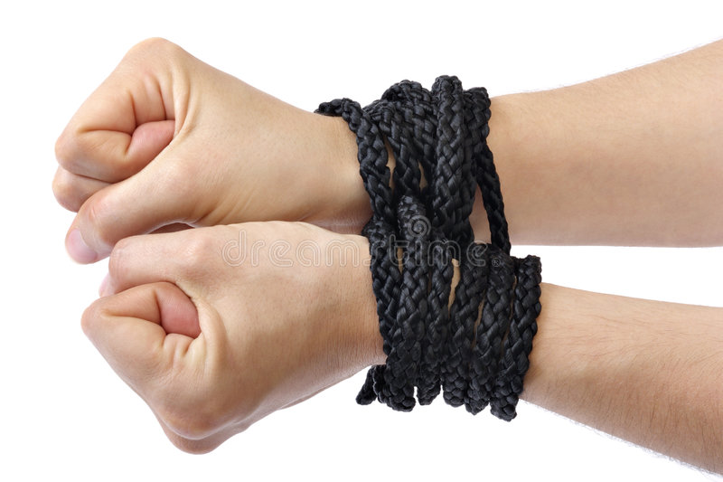 Hands tied royalty free stock photos