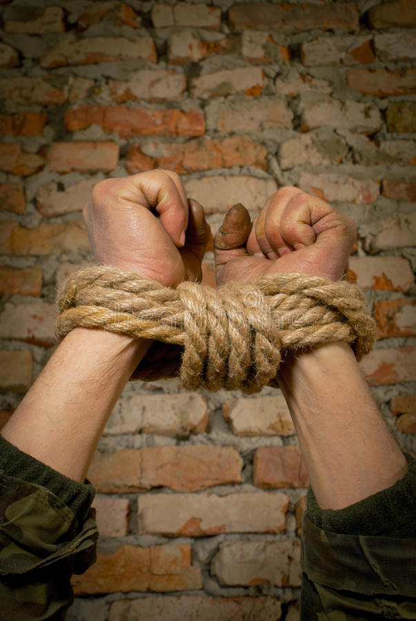 Download Hands tied up with rope stock photo. Image of blocked - 23445542