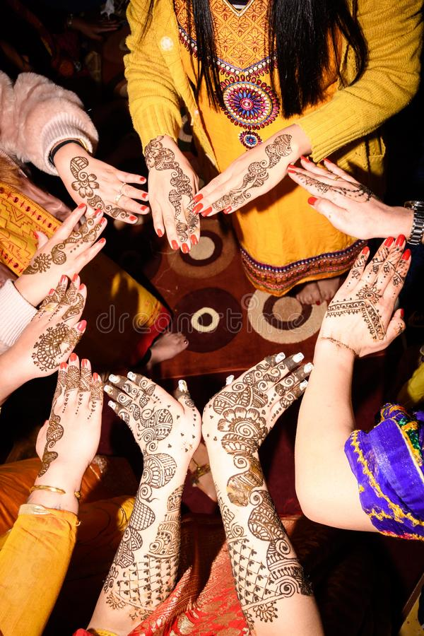 Mehendi Rasm. Hands at the time of Mehendi Rasm during Hindu marriage stock photography