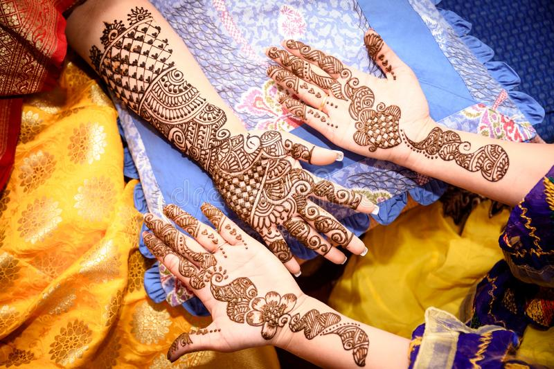 Mehendi Rasm. Hands at the time of Mehendi Rasm during Hindu marriage royalty free stock photos