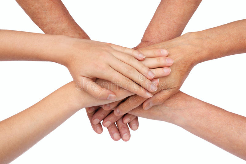 Hands on top of each other royalty free stock photography