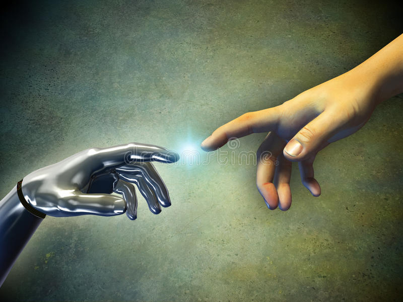 Hands touching. Human hand touching an android hand. Digital illustration