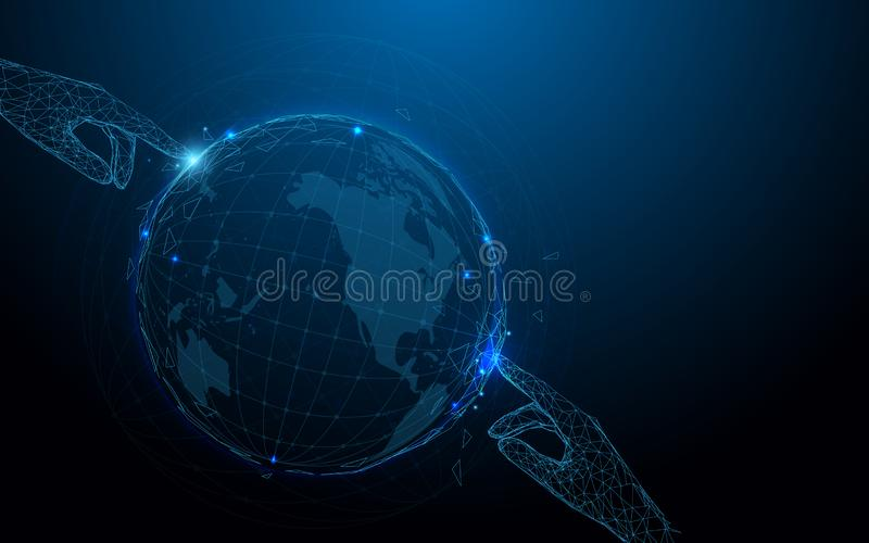 Hands touching globe form lines, triangles and particle style design stock illustration