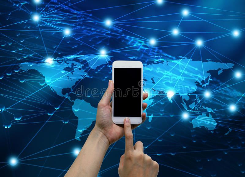 Hands touching smartphone with internet connected lines and glob vector illustration