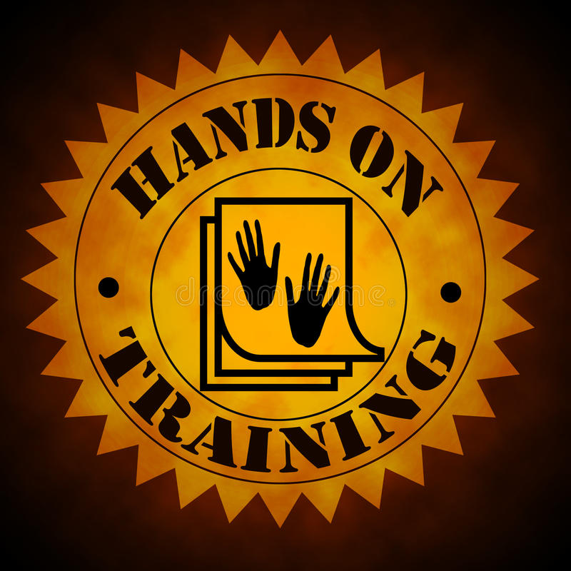 Download Hands On Training Symbol In Gold On Black Stock Image - Image: 28488985