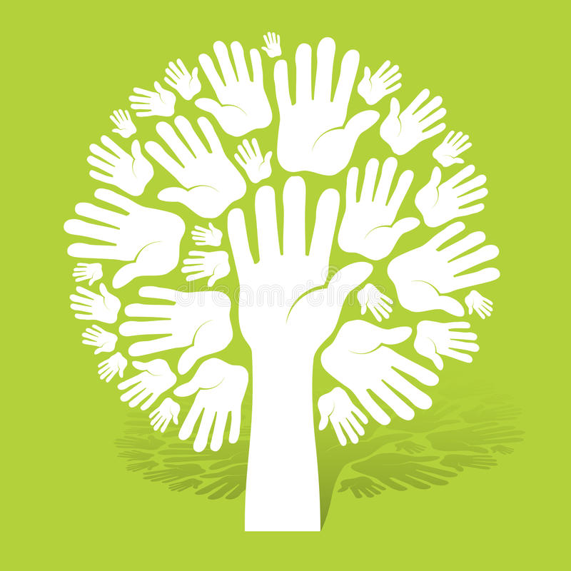 Color Concept Tree With Diversity People Hands Stock