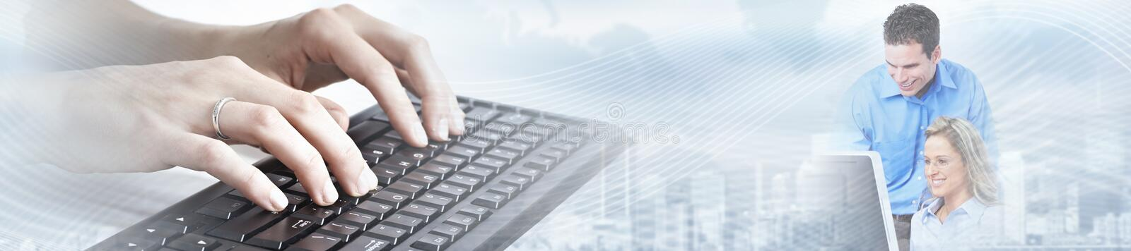 Hands typing on computer laptop. Business people team working in office with computer laptop stock photo