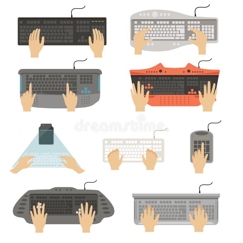 Hands typing on keyboard set, different types of computer console top view vector Illustrations on a white background royalty free illustration