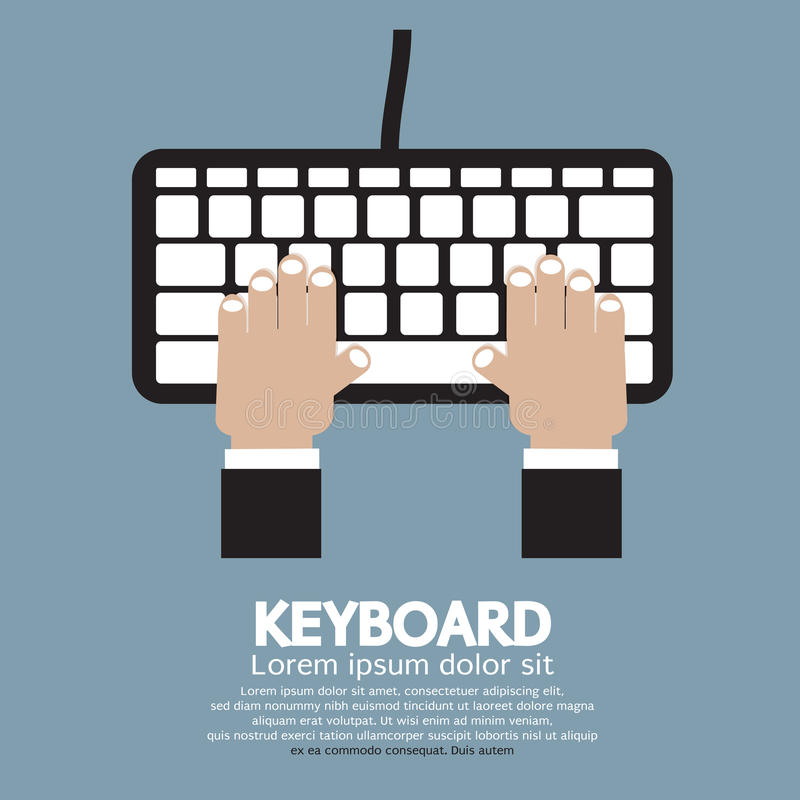 Hands Typing Keyboard stock illustration