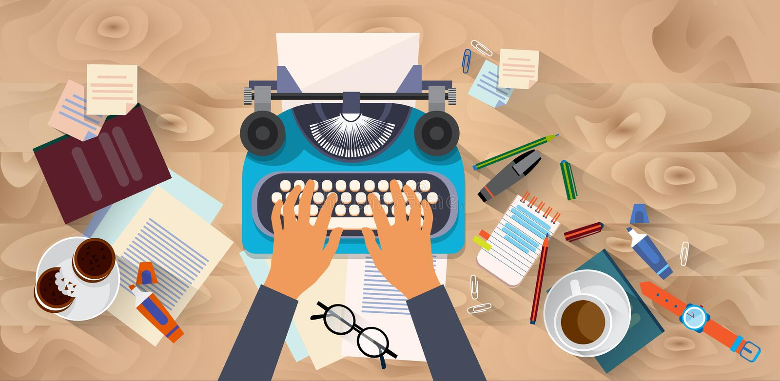 Hands Typing Text Writer Author Blog Typewrite Wooden Texture Desk Top Angle View royalty free illustration