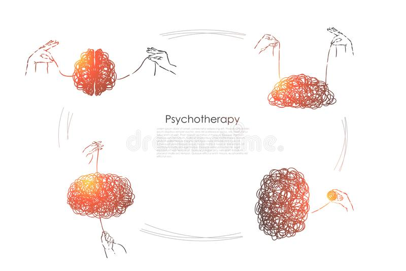 Hands unravel tangle, puzzle solution, problem solving, mental problem, psychiatry banner. Psychotherapy session metaphor, profession concept sketch. Hand stock illustration