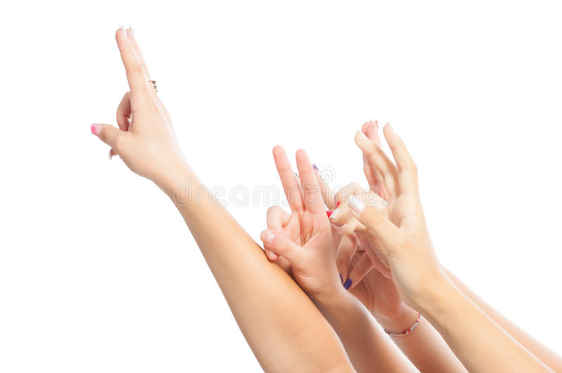 Hands up for answers concept royalty free stock photography