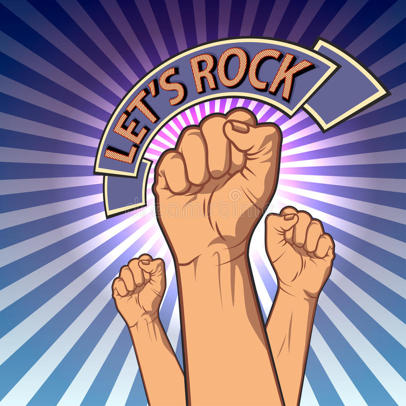 Hands up in a fist. retro rock poster. vector royalty free illustration