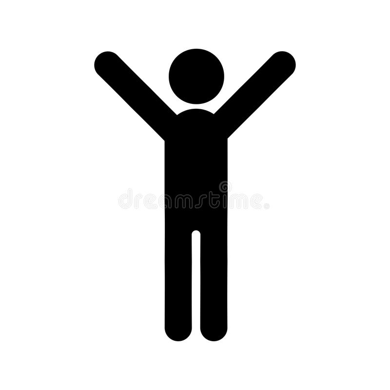 Hands up male person icon royalty free illustration