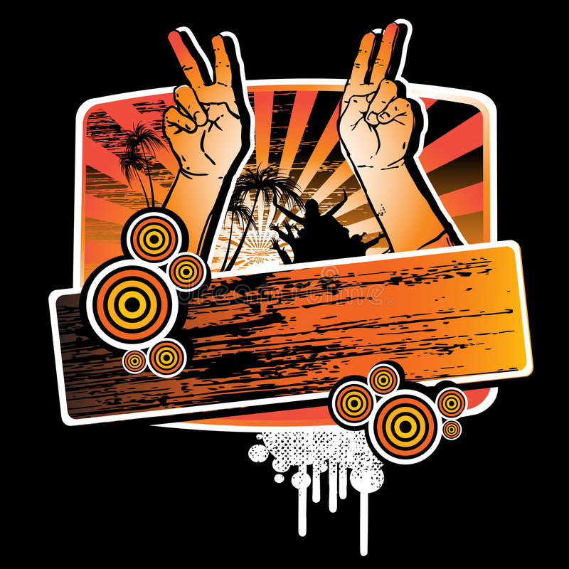 Hands up for the party. Summer party t-shirt grunge design with hands showing peace sign and label for your text. Vector illustration isolated on black