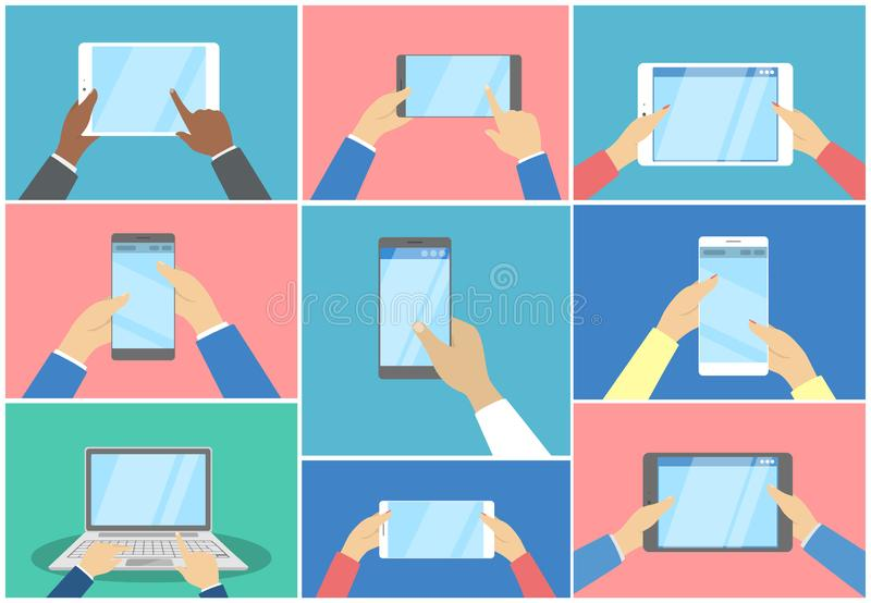 Hands using different digital devices set illustration. Hands using different digital devices set. Computer and mobile phone, tablet and laptop. Electronic vector illustration
