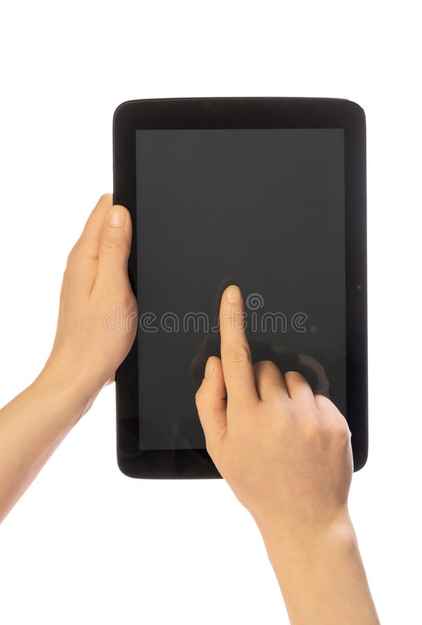 Hands using tablet pc. With blank screen, isolated royalty free stock photos