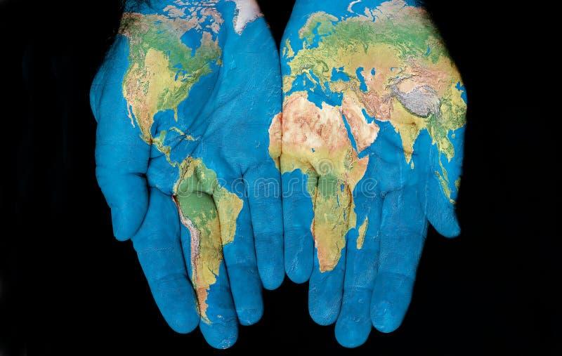 hands vår värld royaltyfri bild