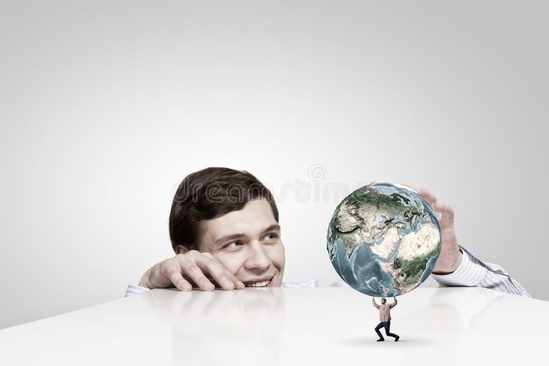 hands vårt planet royaltyfri bild