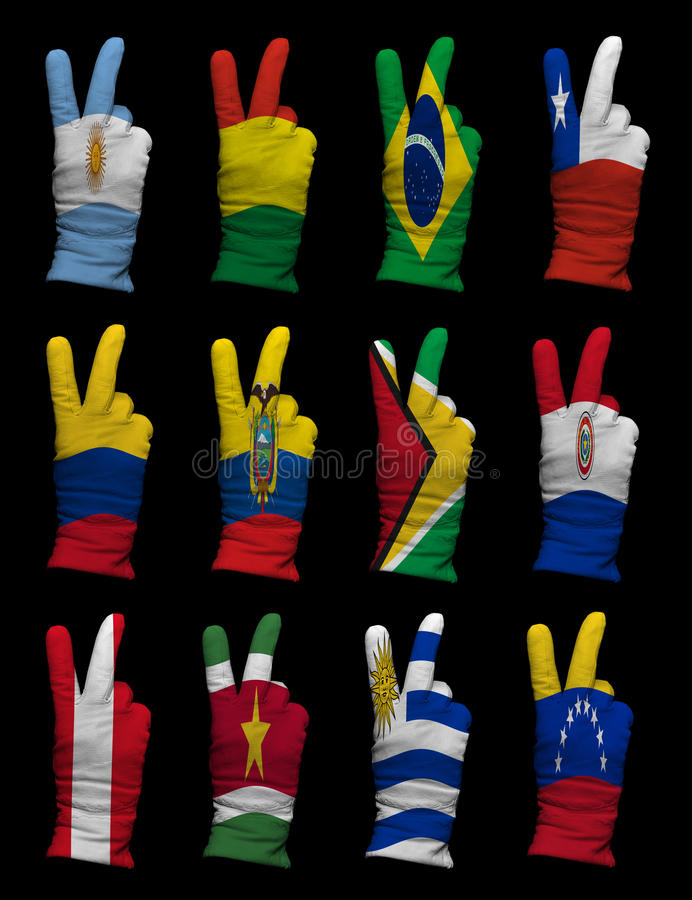 National Flags Of South America ,victory Sign Stock Photography