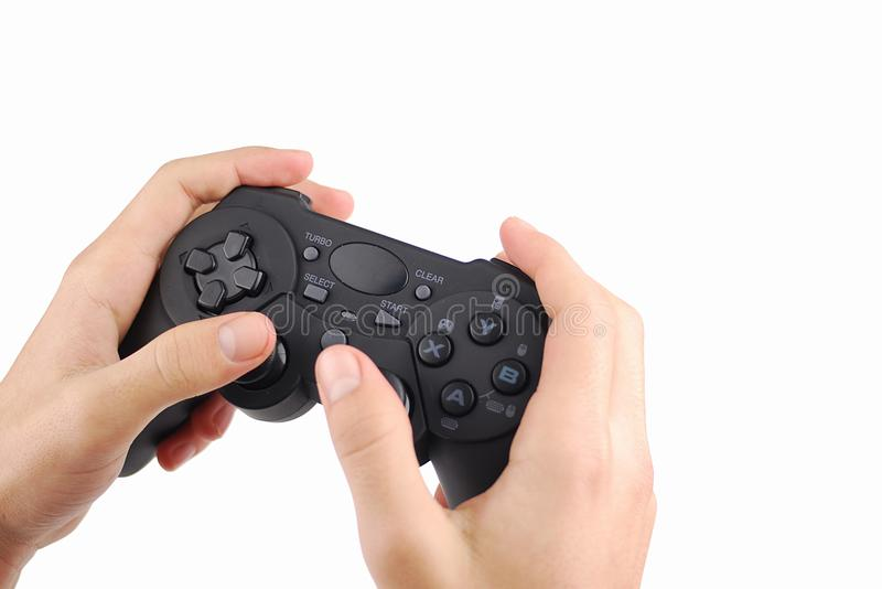 Hands with a Videogame controller royalty free stock photos