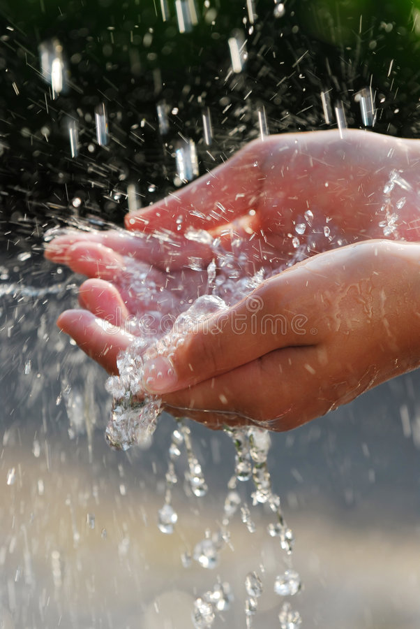Hands and water royalty free stock image