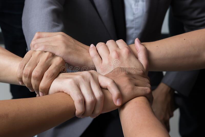 Hands were a collaboration concept stock photo