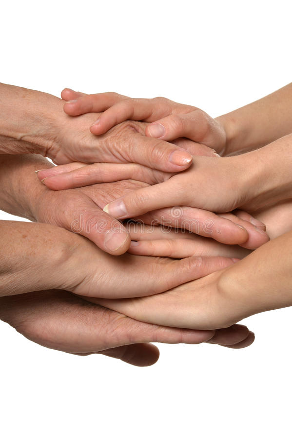 Hands on white together stock images
