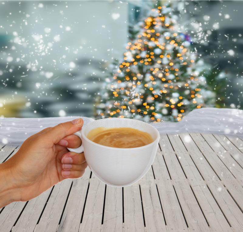 Hands with winter coffee stock images
