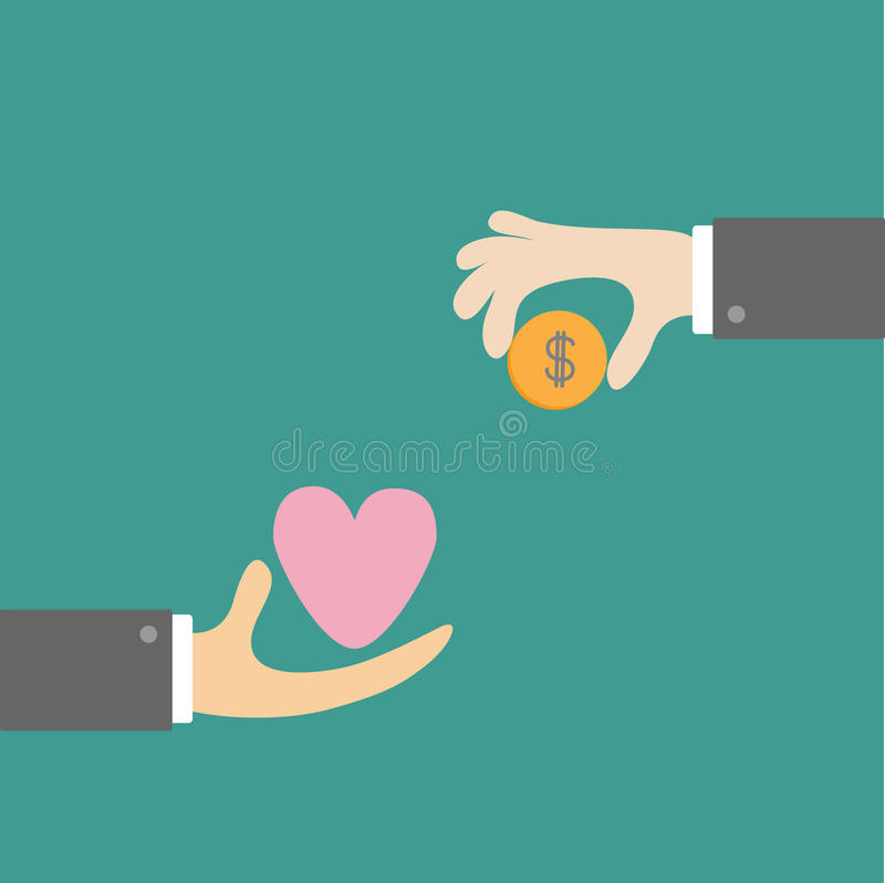 Free Hands With Heart And Money Dollar Coin. Exchanging Concept. Flat Stock Photos - 39964813