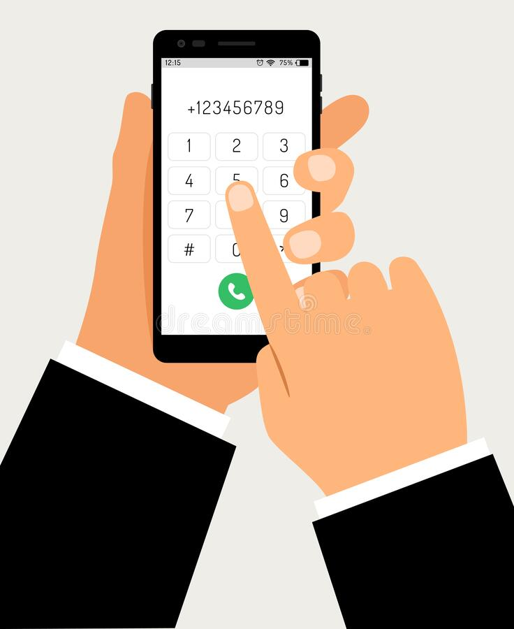 Free Hands With Smartphone Dialing. Mobile Touch Screen Phone With Numbers Pad And Business Hand, Businessman Cellphone Dial Stock Photo - 169155320