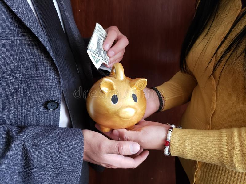 hands of woman holding a piggy bank of a golden pig and hand of man saving an american dollar bill stock image