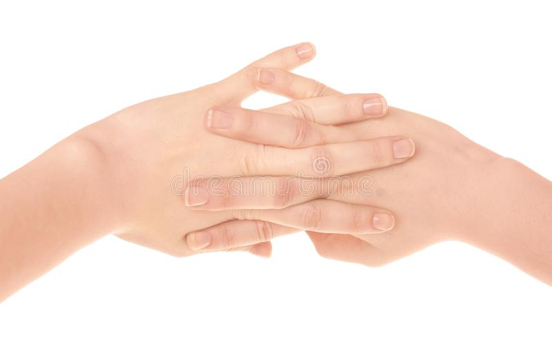 Hands of woman suffering from pain in joints stock images