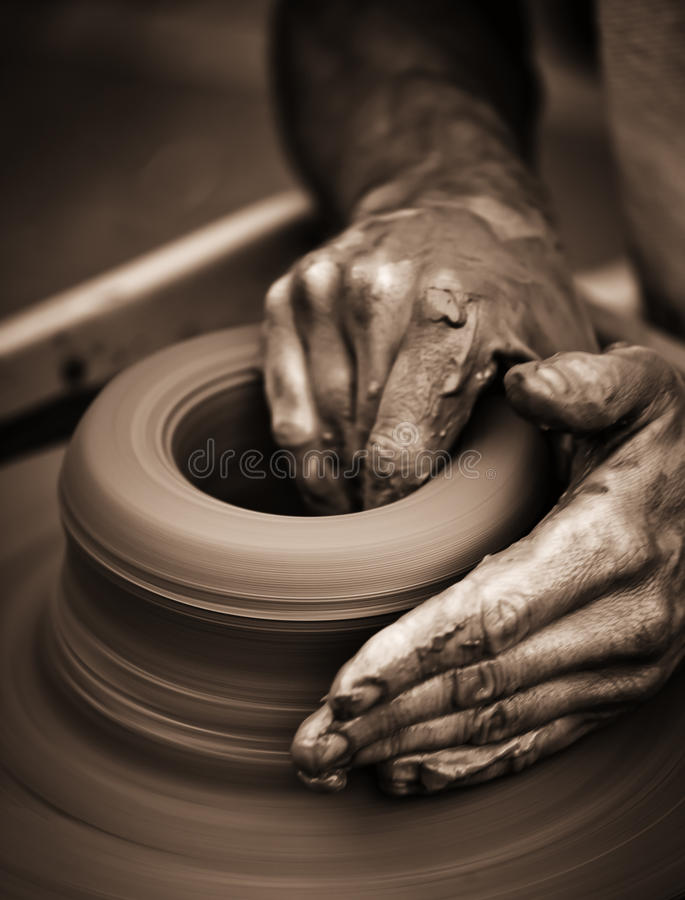 Download Hands Working On Pottery Wheel Stock Photo - Image: 44331867