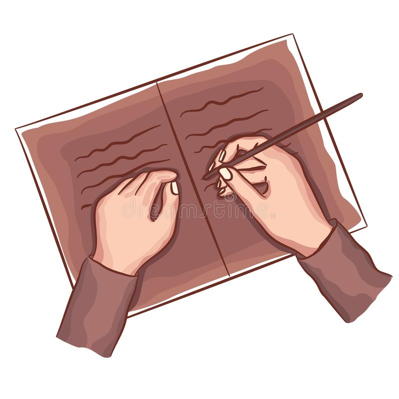 Hands writing on book note, diary. Top view. Holding pen. vector illustration