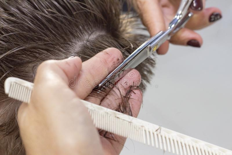 The hands of young barber making haircut to attractive man in barbershop. mens hair cutting scissors stock photos