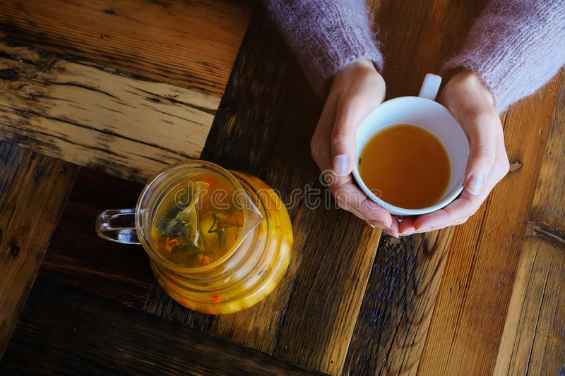 Hands of a young woman holding a Cup of hot fruit tea or hot lemonade. Rendered image. Delicious herbal tea with berries and stock image
