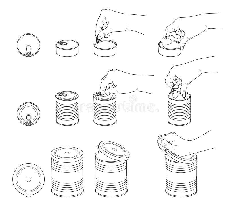 Handsammlung Hände öffnen verschiedene Blechdosen Stellen Sie von den verschiedenen Blechdosen mit Schlüssel, Ring und Plastikdec stock abbildung
