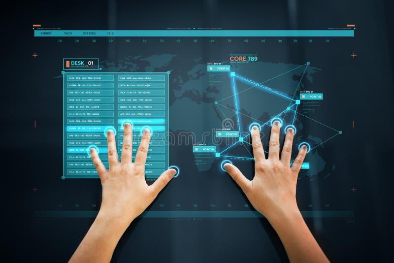 Handscan auf Touch Screen Scannen für Datenzugriff lizenzfreies stockfoto
