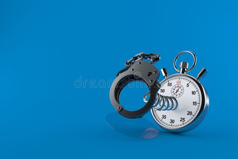 Handschellen mit Stoppuhr lizenzfreie abbildung