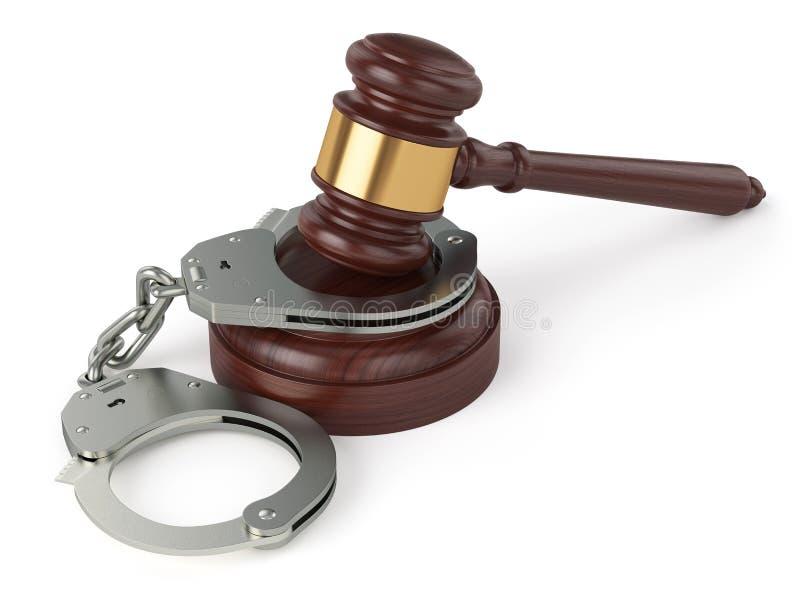 Handschellen und Richterhammer auf weißem Hintergrund lizenzfreie abbildung