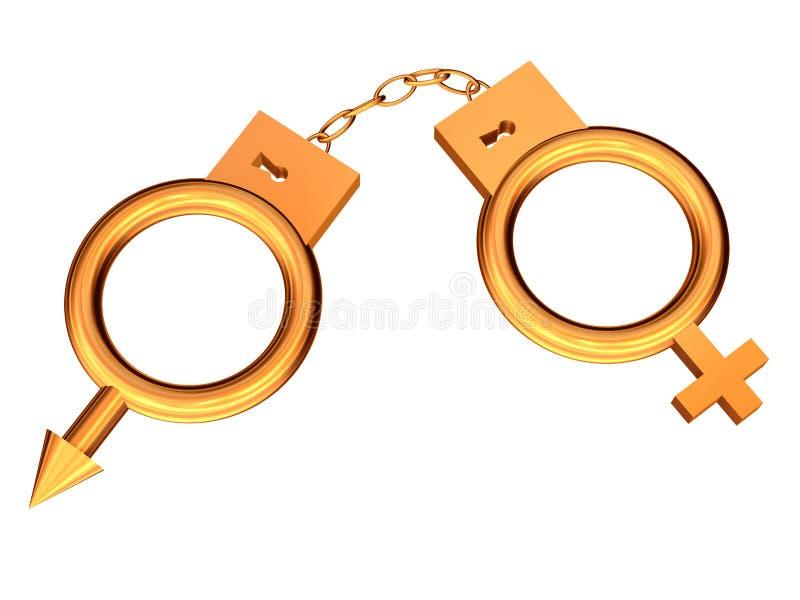 Handschellen vom Gold. stock abbildung
