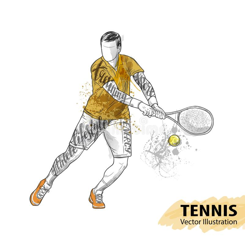 Handschets van Amerikaanse tennisspeler Materiaal voor bescherming van speler Waterverfsilhouet van de atleet met thematisch royalty-vrije illustratie