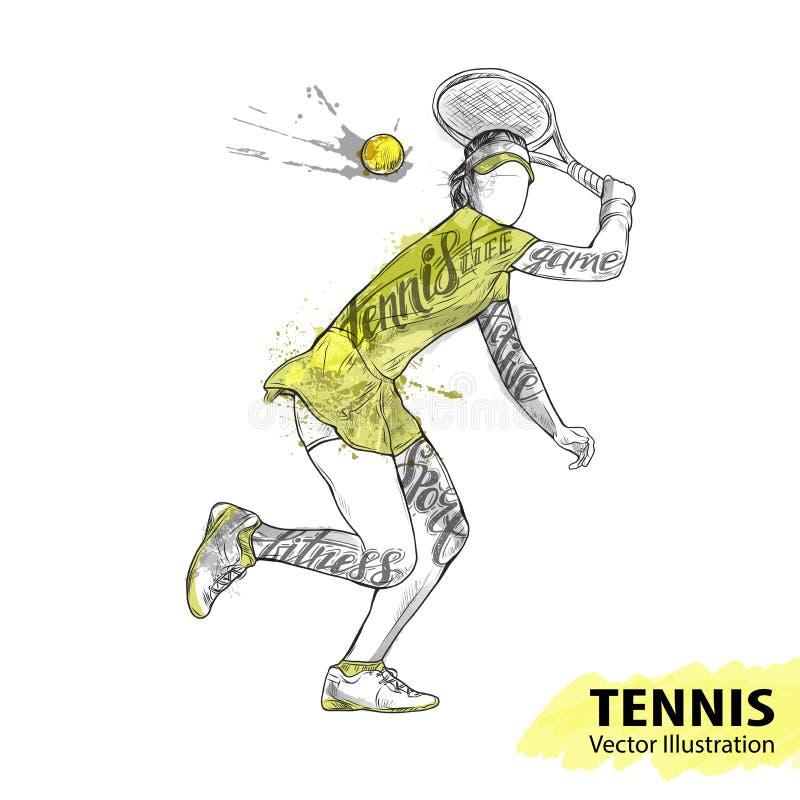 Handschets van Amerikaanse tennisspeler Materiaal voor bescherming van speler Waterverfsilhouet van de atleet met thematisch vector illustratie