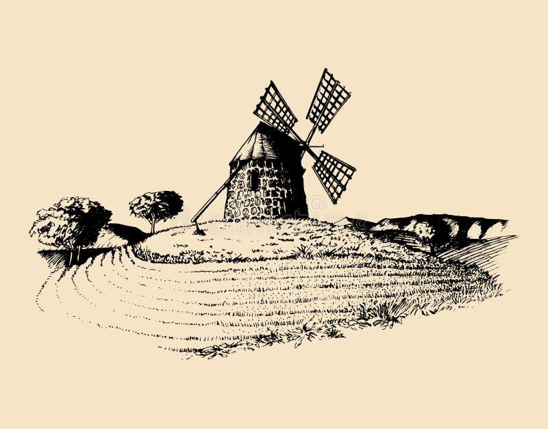 Handschets van rustieke windmolen op gebieden Vector landelijke landschapsillustratie Mediterrane plattelandsaffiche, kaart vector illustratie