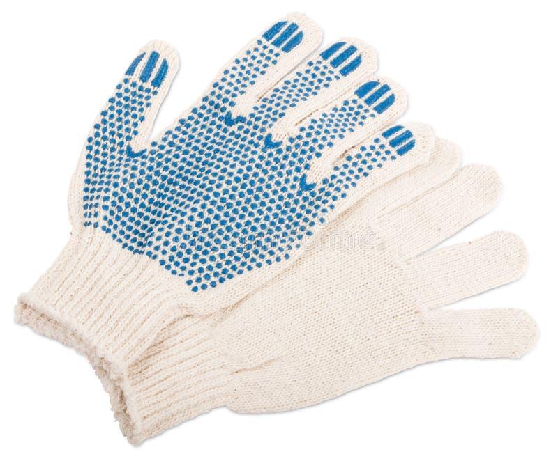 Handschoenen voor arbeiders met rubberpunten stock fotografie
