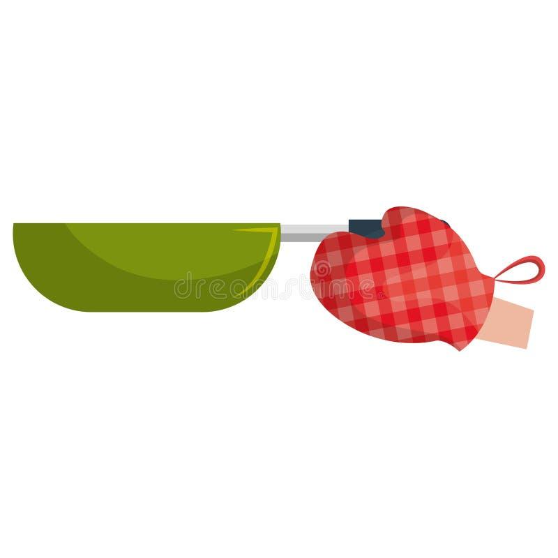Handschoenkeuken met pan stock illustratie