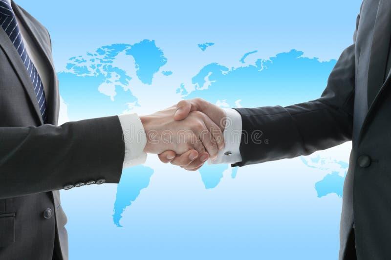 Handschok van zakenman, globaliseringsconcept royalty-vrije illustratie