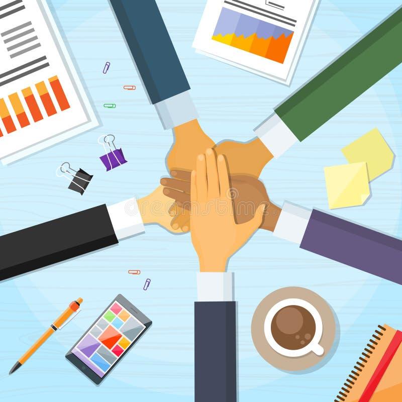 Handschreibtisch-Team Leader Business People Pile-Hand lizenzfreie abbildung