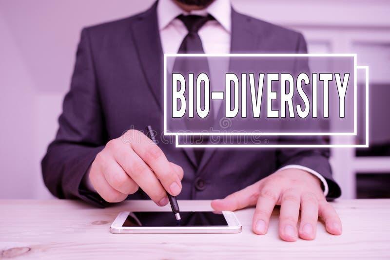 Handschrifstekst die Bio Diversity schrijft Concept betekent variëteit in de habitat van het mariene fauna-ecosysteem van de biol stock fotografie
